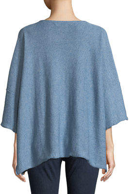 eskandar Reverse-Knit Square Short-Sleeve Linen-Blend Sweater