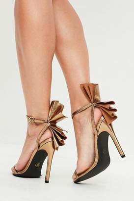 Missguided Gold Fan Detail Barely There Heels