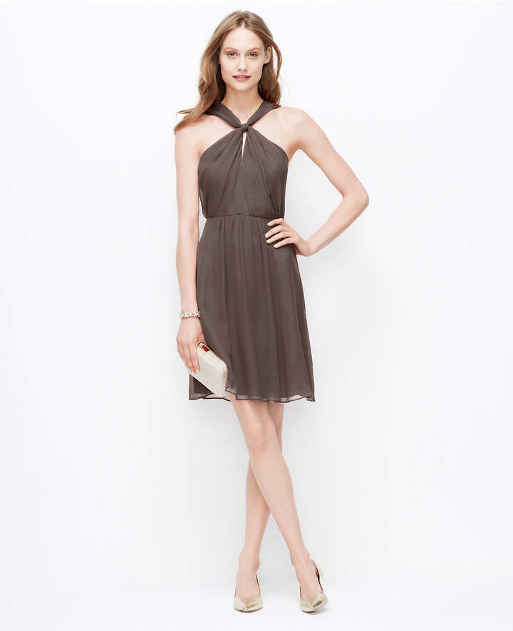 Ann Taylor Silk Georgette Keyhole Halter Dress