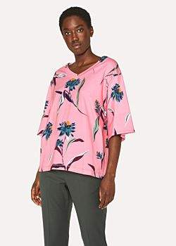 Paul Smith Women's Pink 'Pacific Rose' Print V-Neck Cotton T-Shirt