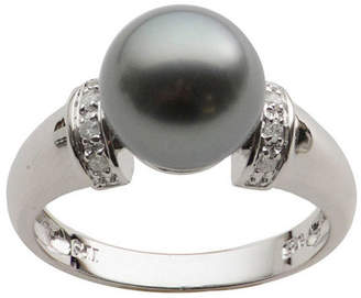 JCPenney FINE JEWELRY Black Tahitian Pearl & Diamond-Accent Ring