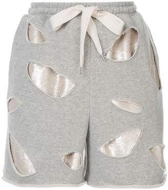 Puma Maison Yasuhiro sequin layer distressed shorts