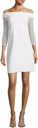 Chiara Boni Nastassia Illusion Long-Sleeve Mini Cocktail Dress