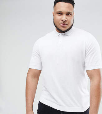 Asos Design PLUS Knitted Muscle Fit Polo In White