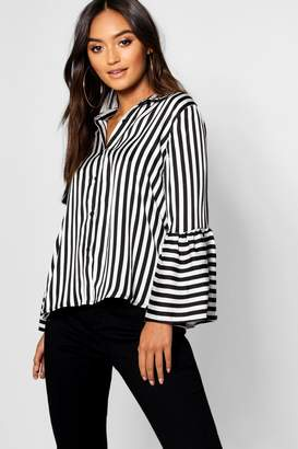boohoo Petite Stripe Bell Sleeve Shirt