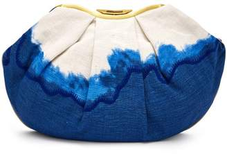 Kilometre Paris - Sandolo Essaouira Embroidered Dip Dye Clutch - Womens - Blue Multi