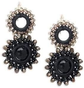 Panacea Beaded Double Circle Drop Earrings