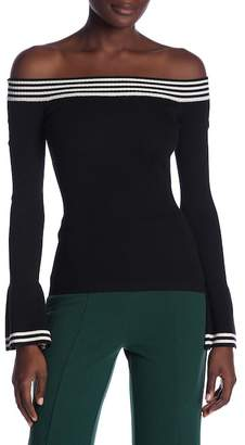 Flying Tomato Off-the-Shoulder Stripe Sweater