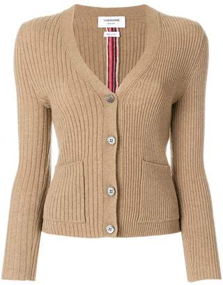 Thom Browne Half-and-half Rib Knit Striped Camel Hair Cardigan