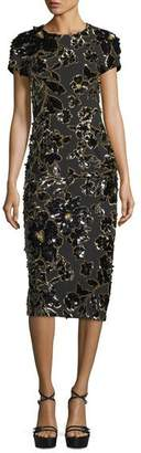 Michael Kors Embroidered Crewneck Sheath Dress