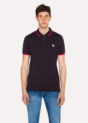 Paul Smith Men's Slim-Fit Dark Navy Zebra Polo Shirt With Red Tipping