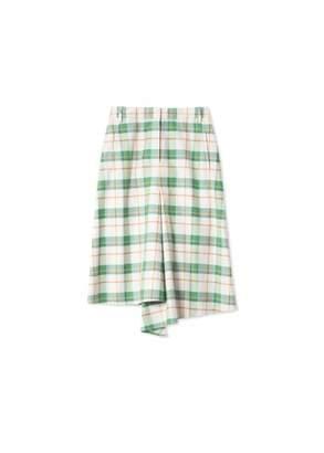 Tibi Hani Plaid Slouch Drape Pencil Skirt