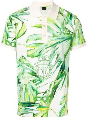 Billionaire leaf print polo shirt