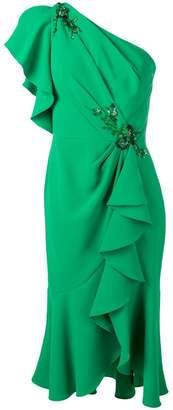 Marchesa one shoulder ruffled dress