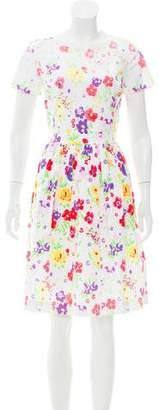 Oscar de la Renta 2016 Floral Print Knee-Length Dress w/ Tags
