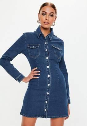 Missguided Blue Dark Wash Long Sleeve Button Through Denim Dress