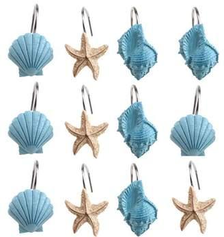 Image Shower Curtain Hooks Rings Set of 12 Home Decorative Seashell Shell Hooks