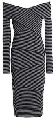 Bailey 44 Edamame Off-The-Shoulder Striped Stretch-Jersey Dress