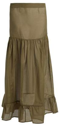 Albus Lumen - Lola Gathered Silk Maxi Skirt - Womens - Khaki
