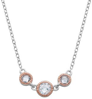 Lord & Taylor Two-Tone Necklace with Cubic Zirconia Stones