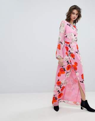 Gestuz Rose Printed Maxi Dress With Open V Back