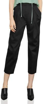 BCBGMAXAZRIA Pleated Cropped Straight-Leg Pants