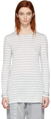 alexanderwang.t Grey and White Striped Slub Long Sleeve T-Shirt