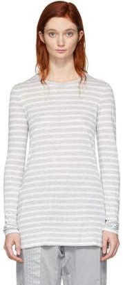 Alexander Wang Grey and White Striped Slub Long Sleeve T-Shirt