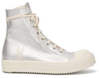 Rick Owens Metallic Canvas High Top Trainers - Mens - Silver