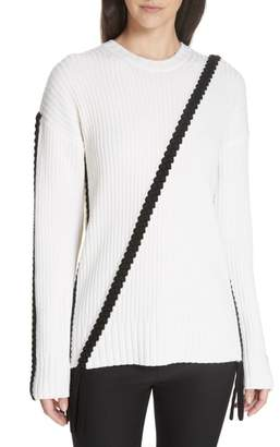 Derek Lam 10 Crosby Assymetrical Braid Trim Sweater