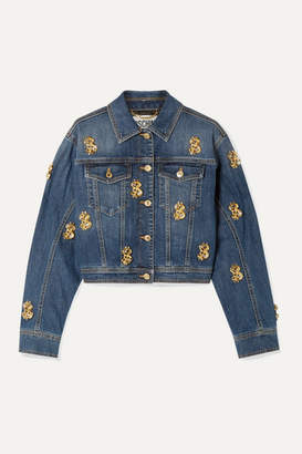 Moschino Cropped Embellished Denim Jacket - Mid denim