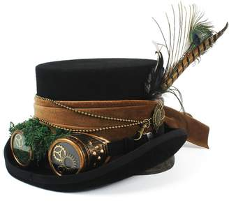 MUMUWU Men's Top Hat Wool Top Fedora Hat Steampunk With Handwork 15CM 4 Size Fashion and Awesome (Color : , Size :)