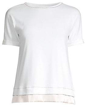 Peserico Women's Rolled Cuff Layered Hem Tee