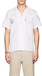 HECHO Men's Embroidered Cotton Poplin Shirt - White