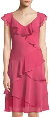 Donna Karan V-Neck Ruffle-Trimmed Dress