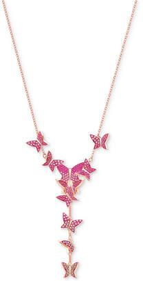 "Swarovski Rose Gold-Tone Butterfly 14-7/8"" Y-Necklace"