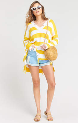 Show Me Your Mumu Delphina Distressed Sweater ~ Yellow Rugby Stripe