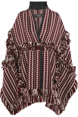 Burberry - Fringed Herringbone-jacquard Wool-blend Cape - Burgundy $3,195 thestylecure.com