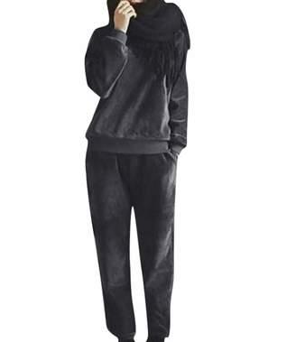 57fe63184d LISTHA 2 Piece Outfits Women Woolen Long Sleeveless Tops Warm Jumper Pants  Sets