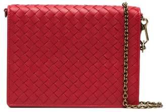 Bottega Veneta red Intrecciato leather wallet on a chain