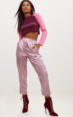 PrettyLittleThing Mauve Satin Boxer Joggers