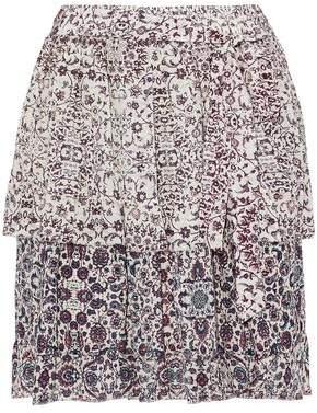 L'Agence Belted Layered Printed Silk-Chiffon Mini Skirt