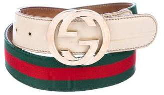 Gucci Web Leather-Trimmed Belt