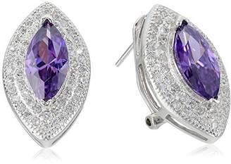 ELYA Jewelry Womens Sterling Silver Amethyst Purple Marquise Cubic Zirconia Drop Earrings