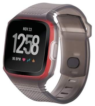 Fitbit Moretek Versa Band, Rugged Sports Strap with Housing Frame Protective Case Unity Replacement Bands Strap for Versa Fitness Smart Watch Accessoy (Translucent Black+Red Frame Case)