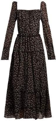 Altuzarra Lahiri Floral Print Silk Blend Dress - Womens - Black Print