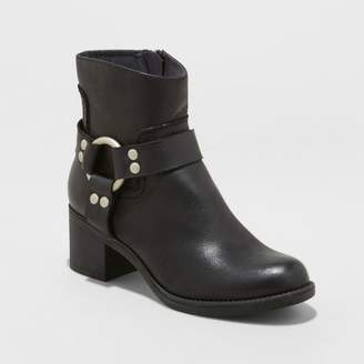Universal Thread Women's Nyree Faux Leather Western Harness Boot Black