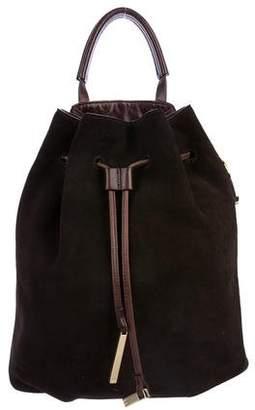 Halston Suede Drawstring Backpack