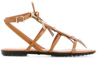 Tod's logo fringe sandals