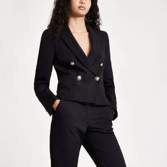 River Island Womens Black crop double breasted tux blazer